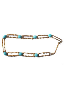 Vintage Rare Gold Bamboo Joint Chain Links Turquoise Stone Belt