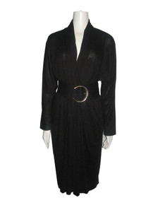 Vintage Black Plunging V-Neck Surplice Draped Big Gold Buckle Belted Dress