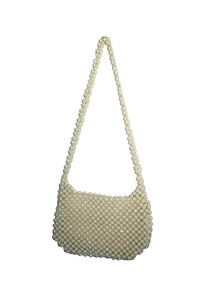 Vintage  Handmade In Hong Kong Cream Diamond Cut Plastic Beads Shoulder Strap Zipper Closure Fabric Lined Mod Handbag