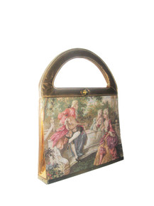 Vintage Rare Multi-Color Metallic Gold Detail Victorian Lady & Man Tapestry Canvas Metal Turnlock Closure Large Statement Handbag