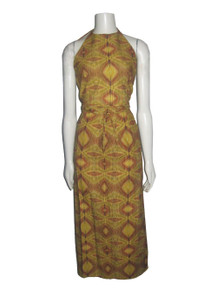 Vintage POYZA 2pc Multicolor Kaleidoscope Printed Halter Top w/ Matching Wrap Skirt
