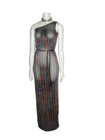 POYZA  One Of A Kind Multi-color Metallic Lurex Vertical Stripe Asymmetrical One Shoulder Belted Long Dress w/ Matching Mask