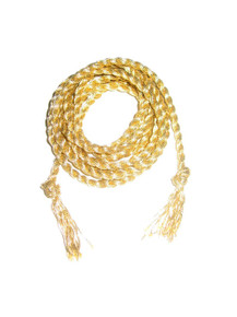 "POYZA Metallic Gold Long Twisted Knotted Rope Fringe Belt 66"" long x 3/8"" wide"