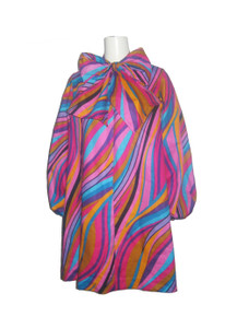 POYZA Signature Vibrant Multi-color African Psychedelic Print Big Bow Tie Neck Long Poet Sleeves Dress w/ Matching Mask