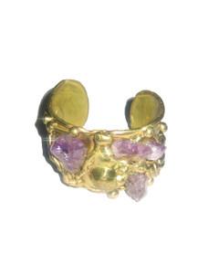 Vintage Gold Amethyst Stones Brutalist Cuff Bangle Bracelet