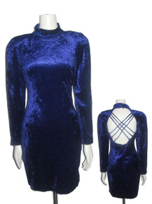 Vintage All That Jazz Blue Velour Caged Back Short Bodycon Grunge Dress