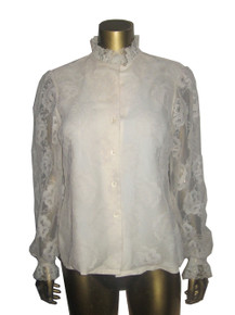 Vintage Judy Bond Cream See Thru Mesh Floral Lace Button Front Long Puff Sleeve  Ruffle Detail Blouse