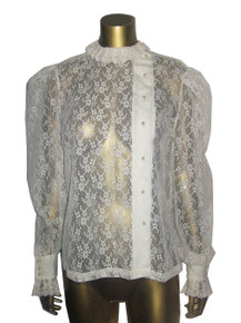 Vintage  Shapely Cream See Thru Mesh Floral Lace Off Center Button Front Long Puff Sleeve Ruffle Detail Blouse