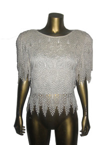 Vintage Cattiva Neiman Marcus Cream Heavily Embroidered Layered Lace Top