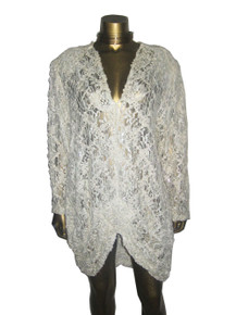 Vintage Melody Ann Fashion Off White Open Ribbon Work Sequins Embellished Lace Plunging V-Neck Shirred Draped Avant Garde Flapper Gatsby Slouchy Dress