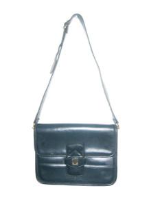 Vintage Stunning Rare Designer Lanvin Blue Gold Adjustable Strap Flap Closure Compartment Leather Shoulder Strap Cross Body Handbag