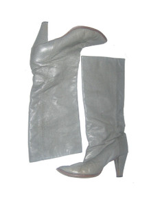 Vintage Golo Grey Textured Leather High Heel Slouchy Disco Boho Knee Boots