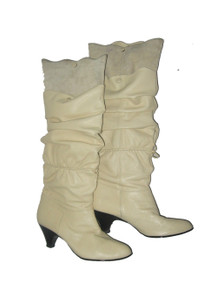 "Vintage Danelle ""Tempest"" Cream Leather Suede Overlay Twist Tie Scrunch Slouch Calf High Black Heel Pointy Toe Scallop Edge Boots Shoes"