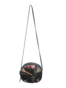 Vintage Empire Orr Inc. NWT Black Multi-color Patchwork Color Block Zipper  Crossbody Shoulder Genuine Leather Handbag