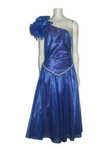 Vintage Made In USA Blue One Shoulder Feather Rhinestone Trim Detail Drop Waist Tulle Lined Party Dress