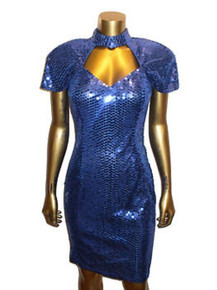 Vintage Glam Blue Cut-Out Detail Sequins Embellished Dolman Sleeve Fitted Bodycon Short Mini Party Cocktail Dress
