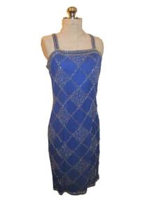 Vintage Nadine Boutique See thru Sheer Flapper Blue Silk Silver Diamond Harlequin Beads Design Strappy Short Trophy