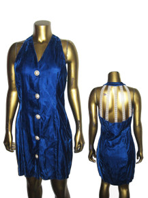 Vintage Arrested by Jonathan Martin Royal Blue Velvet Front Cut Out White Pearl Beads Caged Decorative Buttons Short Mini Dress Dress
