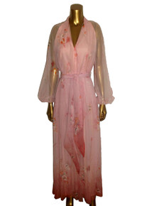 Vintage Designer Malcolm Starr Pink Chiffon See Thru Sheer Floral Print Long Poet Sleeve Pleated Flared Long Disco Dress w/ Matching Belt