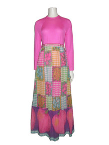 Vintage Rare Mod Hippie Boho Disco Woven Knit Pink Multicolor Solid Floral Fruit Big Strawberries Gingham Check Printed Long Maxi Gown Dress