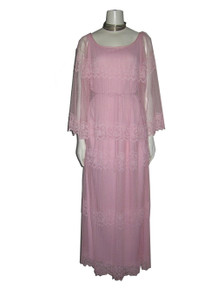 Vintage Pink Overlay Long Belted Mesh Lace Dress