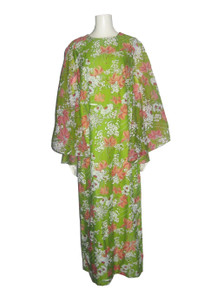 Vintage Green Muticolor Floral Print Sheer Hippie Boho Angel Kimono Sleeve Multifunctional Long Hostess Caftan Hawaiian Dress