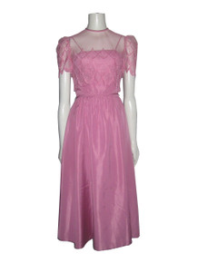 Vintage Pink 2 pc Strappy Belted Dress w/ Mesh Lace Cropped Cover-up Top