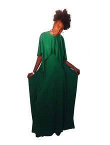 Vintage Strait Lane Green Overlay Draped Cascade Long Grecian Disco Dress