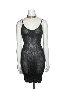 Vintage Next Black Strappy Short Crochet Pointelle Knit Dress