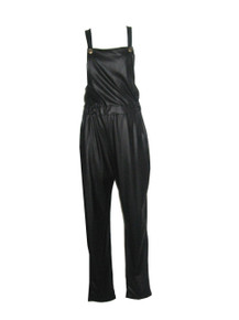 Vintage Fashion Love Made In USA Black Liquid Leather Overall Jumpsuit