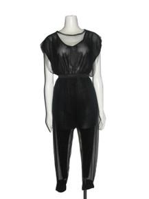 Vintage Rachel Yu Black Mesh See Thru Overlay Extended Shoulder Knit Lined Jumpsuit