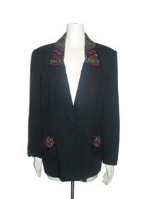 Vintage Black Multicolor Beads Embellished Button Closure Blazer Jacket