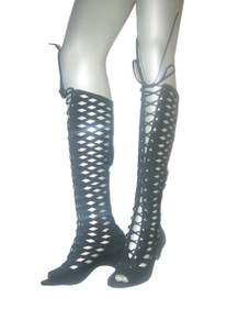 Vintage Rare Stunning Black Suede Leather Peep Toe Caged Laser Diamond Cut Laced Up Shoes Boots