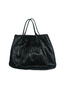 Vintage Designer Maxx New York Black Animal Hair Leather Trim Compartment Double Handle Pouch Handbag