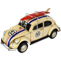 "Volkswagen (VW) Beetle 53 with Surfboard  ""Herbie"" - Race Stripes 34cm front"