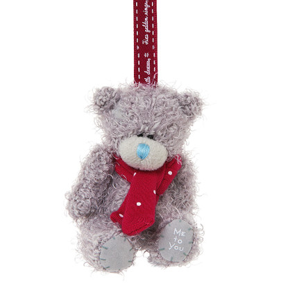 """3"""" Me to You Bear Plush Tree Decoration with Scarf"""