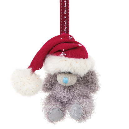 """3"""" Me to You Bear Plush Tree Decoration with Santa Hat"""