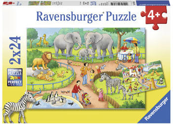 Ravensburger - A Day at the Zoo Puzzle 2x24pc RB07813-4