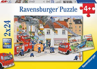 Ravensburger - Busy Fire Brigade Puzzle 2x24pc RB08851-5