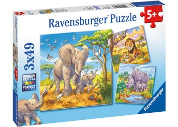 Ravensburger - Wild Animals Puzzle 3x49pc RB08003-8