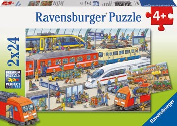 Ravensburger - Busy Train Station Puzzle 2x24pc RB09191-1