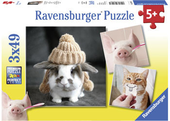 Ravensburger - Funny Animal Portraits Puzzle 3x49pc RB08028-1