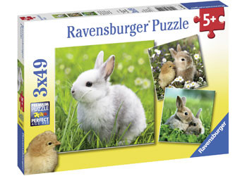 Ravensburger - Cute Bunnies Puzzle 3x49pc - RB08041-0
