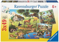 Ravensburger - Forest Zoo & Pets Puzzle 3x49pc - RB09265-9