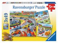 Ravensburger - Moving Vehicles Motoring Along Puzzle 3x49pc - RB09273-4