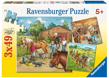 Ravensburger - A Day with Horses Puzzle 3x49pc RB09237-6