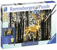 Ravensburger - Deer in the Birch Forest Puzzle 1200pc Touch of Gold RB19936-5