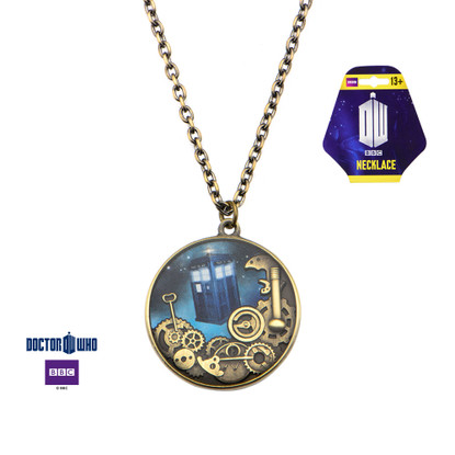Dr Who Tardis Gears Necklace