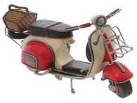 Red and White Vespa with Basket metal replica 33 cm