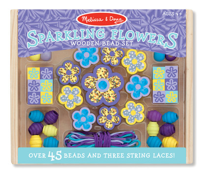 Wooden Sparkling Flowers Bead Set